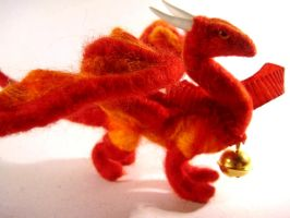 Red Needle felted Dragon by Projectsubvert
