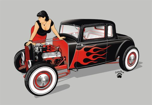 hot rod and girl by cryingbear