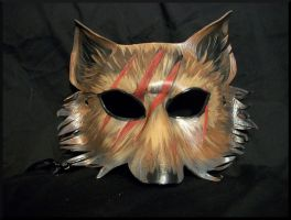 Scarred Wolf mask, made from Leather by Jedi-With-Wings