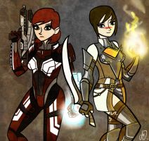 FemShep and LadyHawke by joe-wright