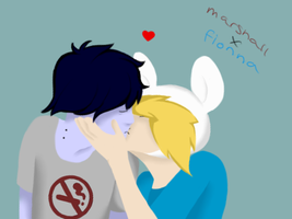 Fionna kissing Marshall Lee by Gochure