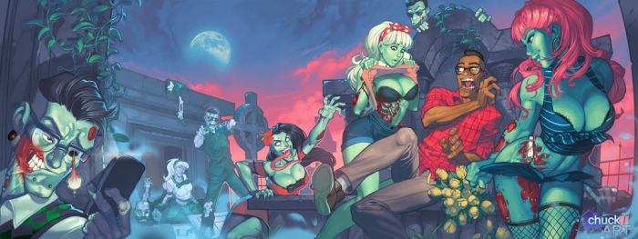 Zombies vs Hipsters by chuck-piresART