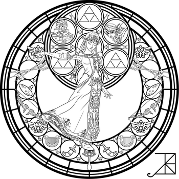 Stained Glass: Zelda -coloring page- by Akili-Amethyst