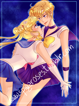 Sailor Moon and Uranus by SpigaRose