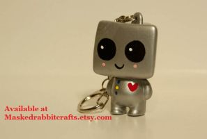 HeartBot Key Chain by maskedrabbitcrafts