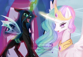 Queen Chrysalis vs Princess Celestia by Chokico