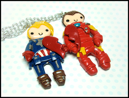 Iron Man + Captain America BFF Necklace Set by GrandmaThunderpants