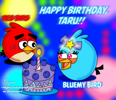 ~Birthday Gift/Art Trade~: Bluemy and Red by MeganLovesAngryBirds