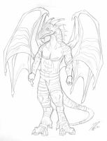 Dragonanthro Sketch by thazumi