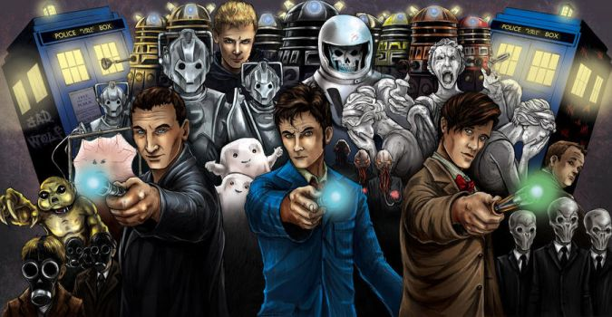 Doctor Who Triptych  (COLOR) by TyrineCarver