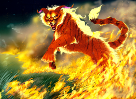 Tiger fire Demon by elen89