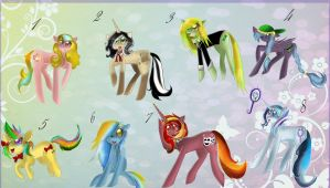 Pony Adoptables. [CLOSED ~ ALL SOLD]. by MonotoneInkwell