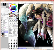 WIP COMMISSION: Ahri Dynasty Skin 3 by KailiStark