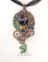 Steampunk pendant with a dragon charm by ukapala