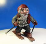 Norwegian Skiing Nisse by dragonhope