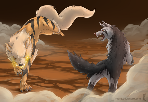 Arcanine Vs Mightyena by Frodse