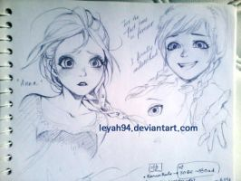 Scribble of Elsa and Anna by lluna10