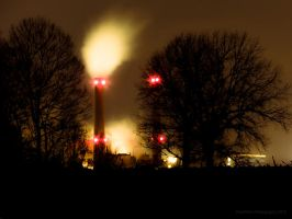 Power Plant at Night by VividThorn