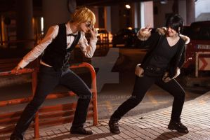 you can't catch me - shizuo and izaya (drrr) by Albitxito