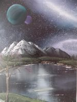 A space landscape oil painting by bambiepies
