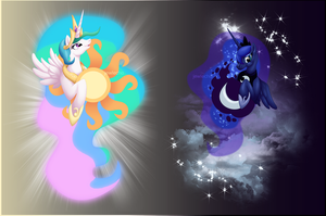 Princess Celestia and Luna Shirt Designs by jewlecho