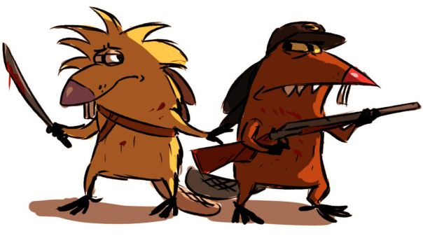 Angry walking beavers by Nateyou