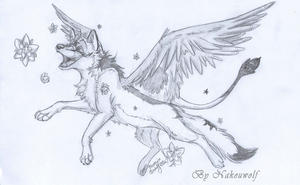 Sketch trade #1 - Phoenix in flowers by Nakouwolf
