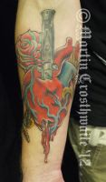 Switchblade Heart Moth Rose Tattoo by mxw8