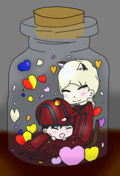 Cicero and Lucifer in a bottle by crystalandzoe