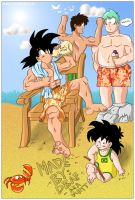 Goku on the beach. by DragonballAF