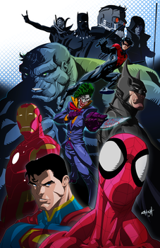 Marvel and DC Crossover Print by RayHeight