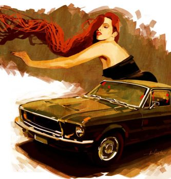 four spots mustang girl by javierGpacheco