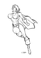 Powergirl Lineart by Gilmec