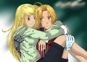 Winry and Edward by DevilsEnchantment