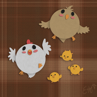 The Paper Chicken Family by OEmilyThePenguinO