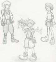 Kingdom heart sketches by superfreak333