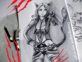 Sexy Catgirl drawing - Timelapse by GenKey