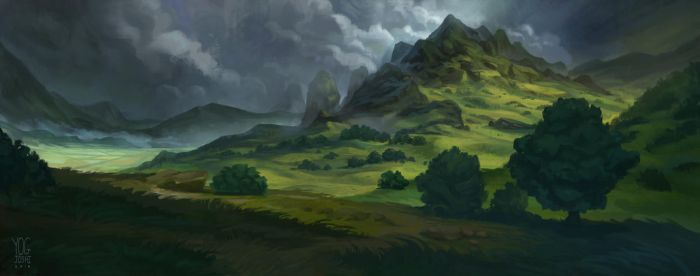 Cloudy Mountainscape by YogFingers