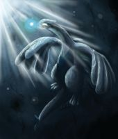 Lugia, Guardian of Seas by julieloveart