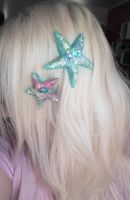 Starfish mermaid hairclip by cherrybomb-81