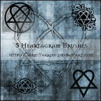 5 Heartagram Brushes by Dark-Yarrow