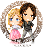 SnK Fanart : Chibi Ymir and Krista by Enouviaiei