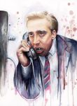 Nicolas Cage Vampire Watercolor Art by Olechka01