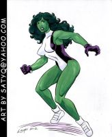 Sensational She-Hulk color art by SatyQ