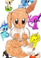 Eevee and the Eeveelutions by StarryNights729