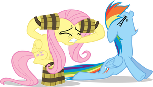 Fluttershy and Rainbow Dash - RAWWWWR by Firestorm-CAN
