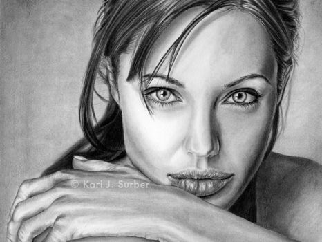 Angelina Jolie Drawing by KJS-1