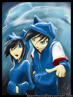 Rain Hoodie of Danny and Danni by seantriana