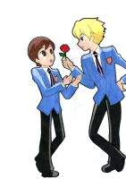 Ouran Host Club - Haruhi and Tamaki by flodoyle