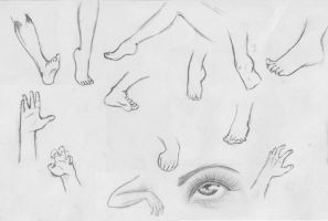 Practicing with feet and hands by hartlover